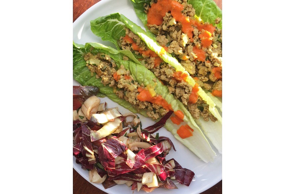 Ground Turkey Lettuce Wraps with Roasted Red Pepper Sauce