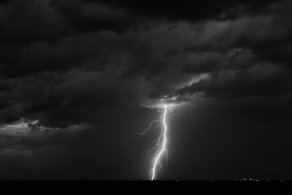 A lightning strike near Eloy, Arizona
