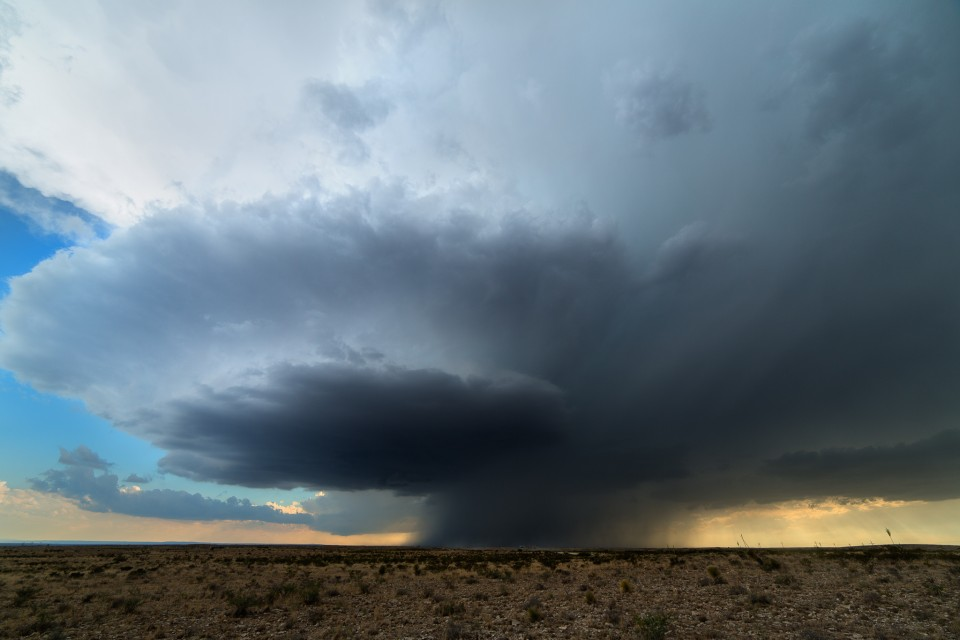 A beautiful supercell rotates over the deserts southwest of Artesia, New Mexico.