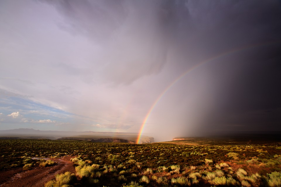 A powerful thunderstorm that dropped heavy rain and pea-sized hail moves off over Dead Indian Canyon along the Little Colorado River. This canyon eventually connects to the Grand Canyon. As the storm departs, water runs through the desert and a stunning rainbow seems to disappear into the canyon itself.