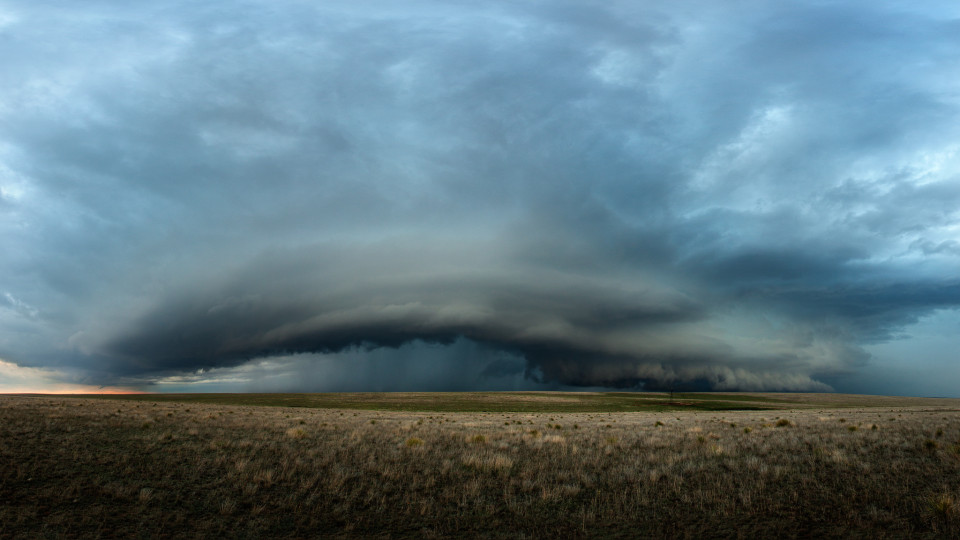 I watched this supercell start off as simple towering cumulus and two hours later it became this beast hovering over the farmlands northwest of Pampa, Texas.