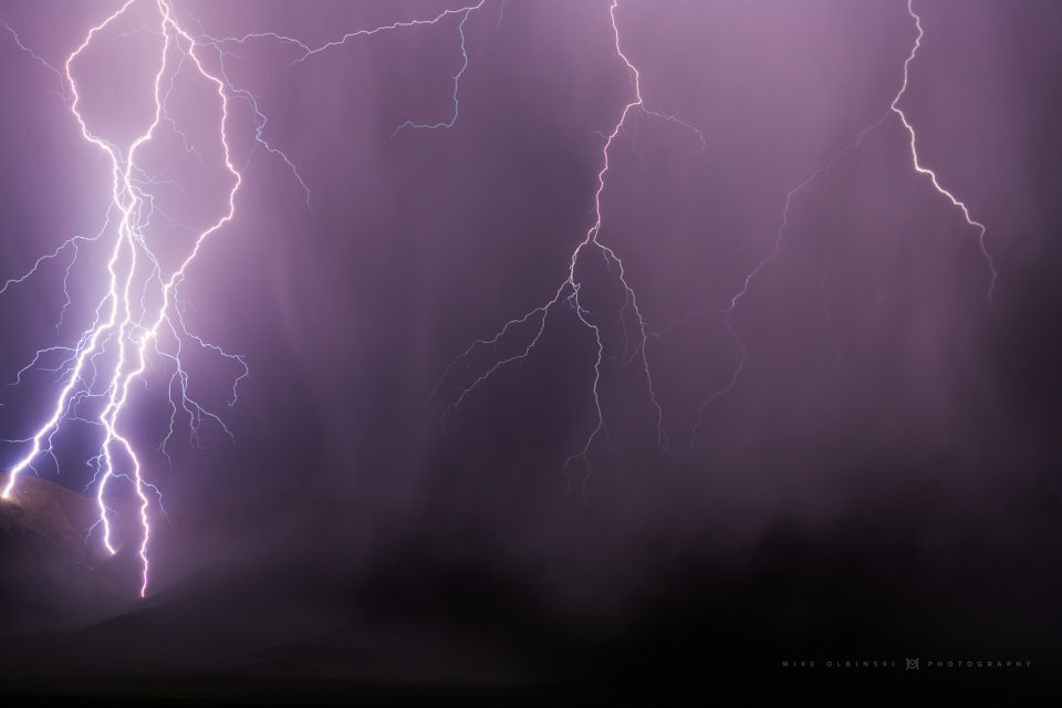 A smattering of lightning bolts slam into the Swisshelm Mountains in southeastern Arizona