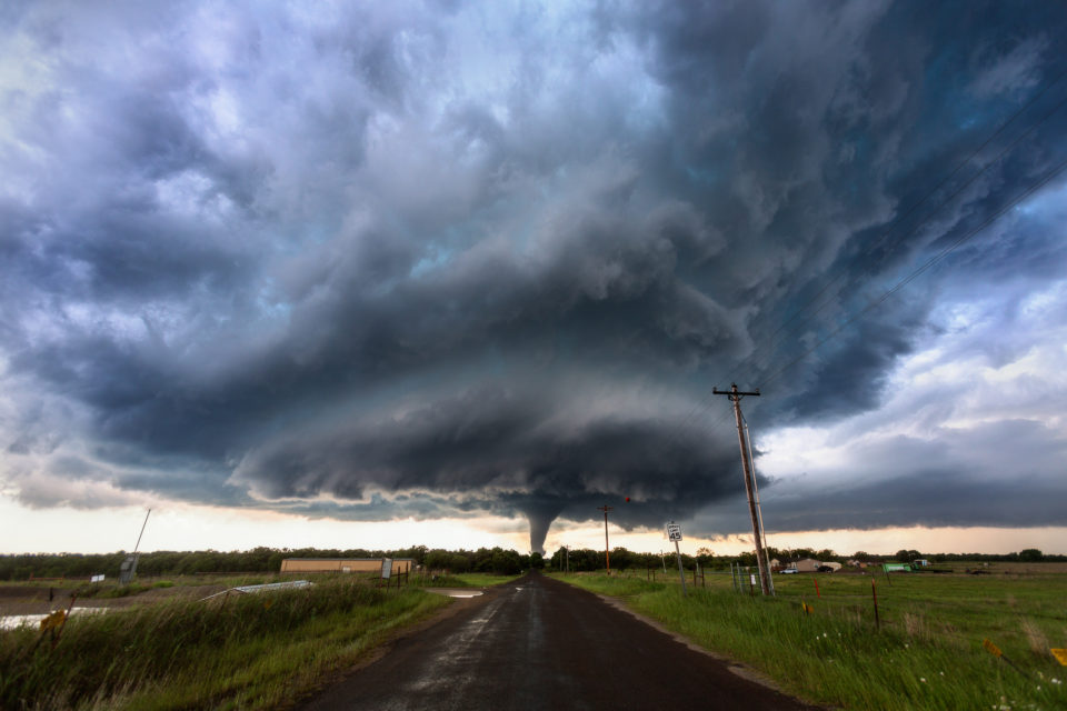 A powerful, EF4 tornado spins through the small rural community of Katie, Oklahoma on May 9th, 2016.