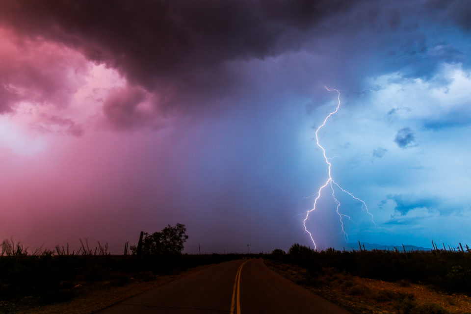 Yesterday was a crazy chase, ended up in a little community east of Ajo called Maish Vaya at sunset and completely surrounded by exploding thunderstorms and insane colors in the sky. It was unreal. This was looking north and is the only bolt I caught in this direction as I had less than 10 minutes before it started pouring. Spent the night in Green Valley and am now in Nogales watching the wash through town flow a bit before heading home early this afternoon.