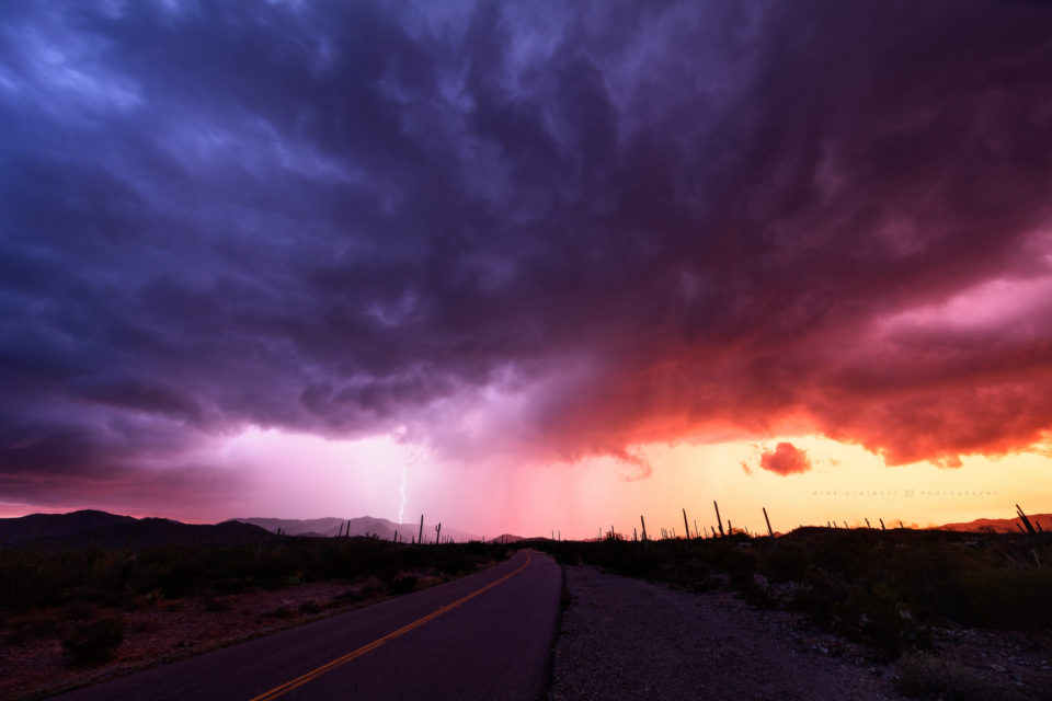 A stunning thunderstorm at sunset out in a remote area of southern Arizona near the community of Maish Vaya.