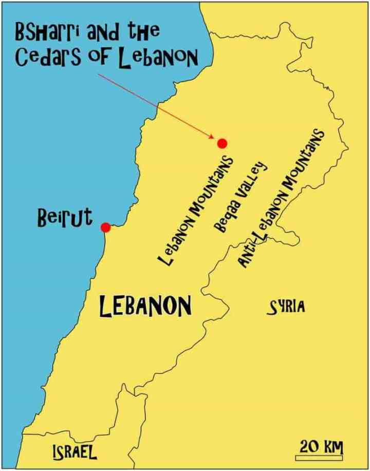 Cedars of Lebanon map