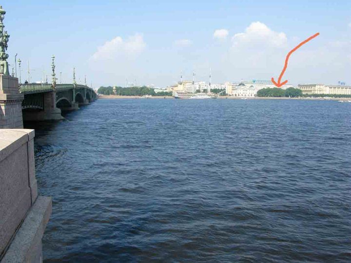 View from the south bank of the Neva across to where Peter the Great's original log cabin is now behind some trees (red arrow).