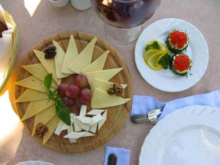 Cheese, caviar and wine, at the Cafe Albatross in Taganrog.