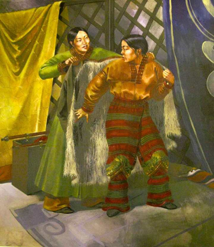 Painting on display in the Tanais Museum, South Russia, showing the reconstructed costume of a woman of the Golden Horde.