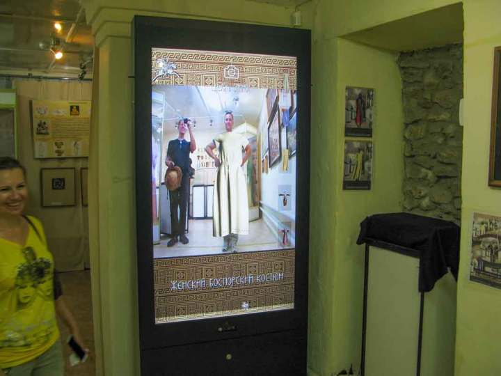 In the Tanais Museum you can stand on a spot and watch a screen showing you wearing a variety of reconstructed ancient costumes.