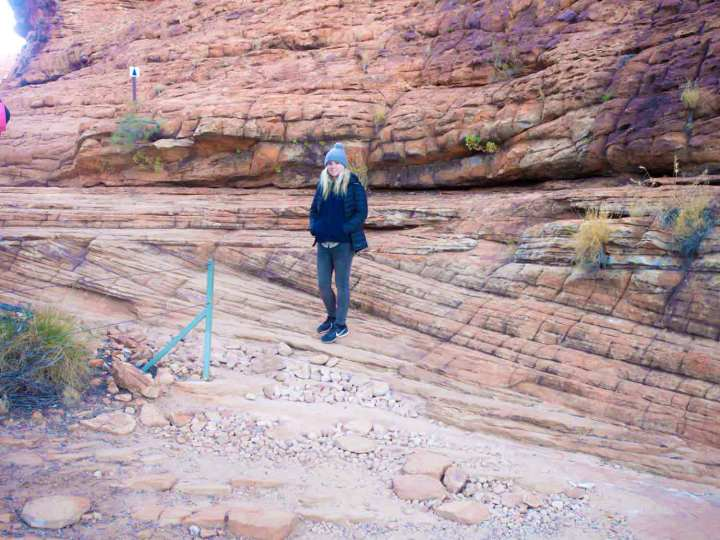 Our guide Matti, in front of some very large cross beds of Mereenie Sandstone, Kings Canyon, central Australia, which may have formed as wind blown dunes.