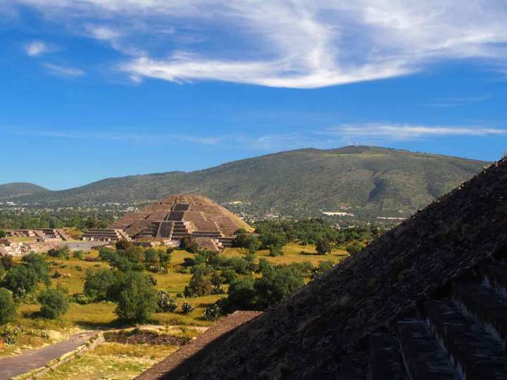 Teotihuacan's Temple of the Moon, viewed from the side of the Temple of the Sun.