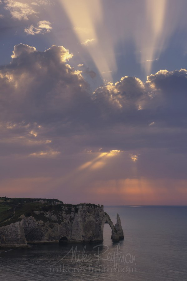 White Chalk Cliffs And Arches Of Alabaster Coast. Etretat