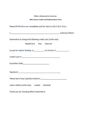 Credit Card Authorization Form - Resume Template Ideas