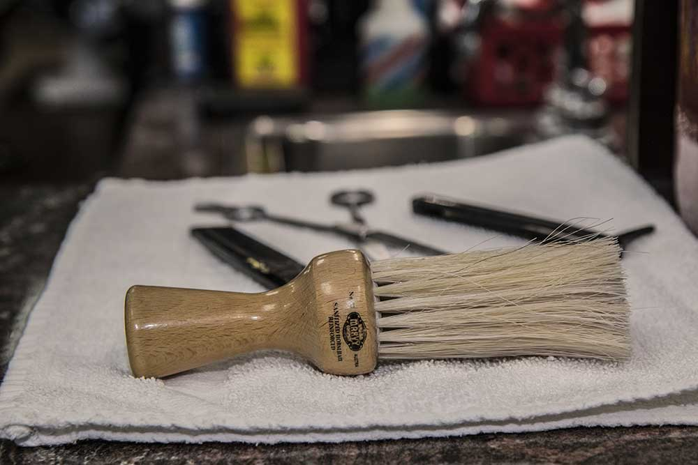 close view of shave tools and brush