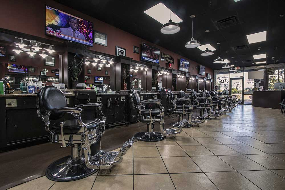 long view inside mike barbershop