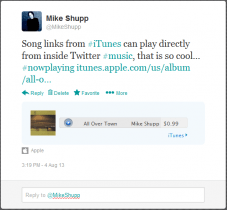 iTunes Link in Twitter #music