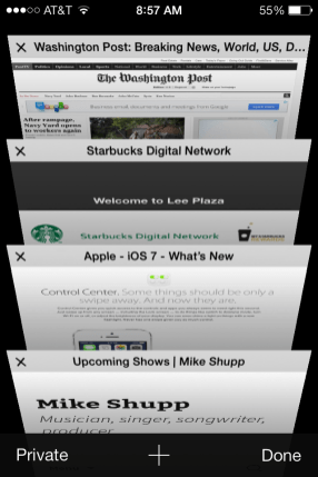 iOS 7 - Browser Tabs