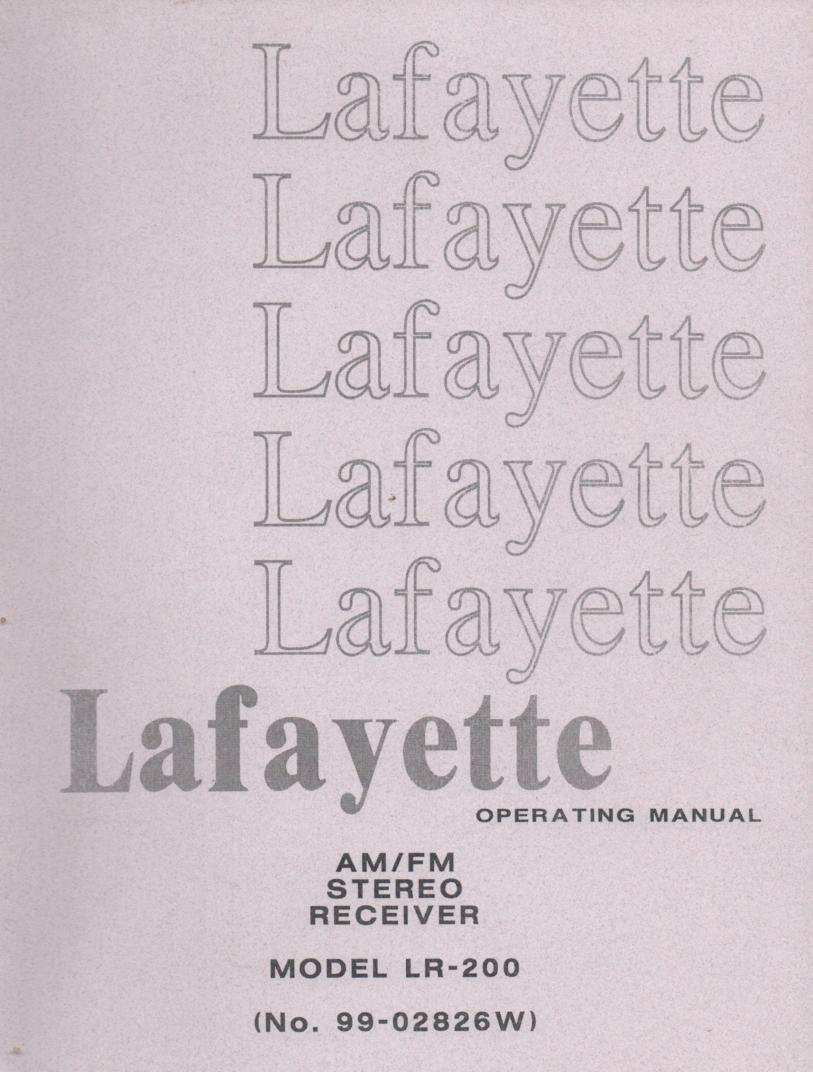 LAFAYETTE LR-200 Receiver Owners Service Manual