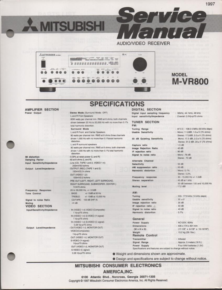 Mitsubishi M-VR800 AV Receiver Service Manual
