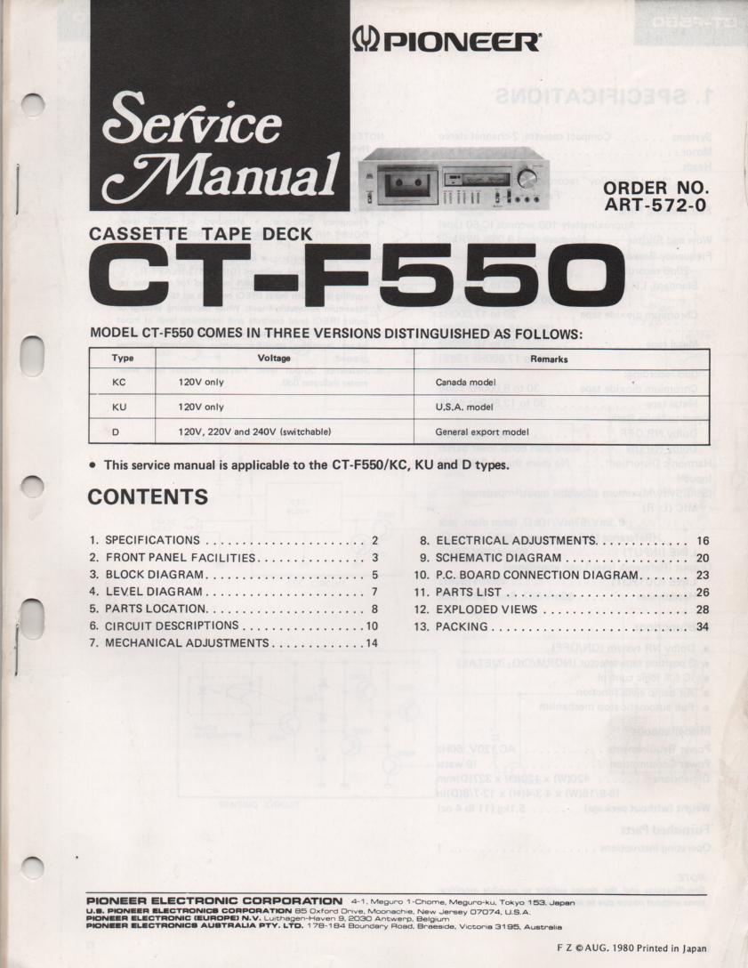 Pioneer CT-F550 Cassette Deck Service Manual