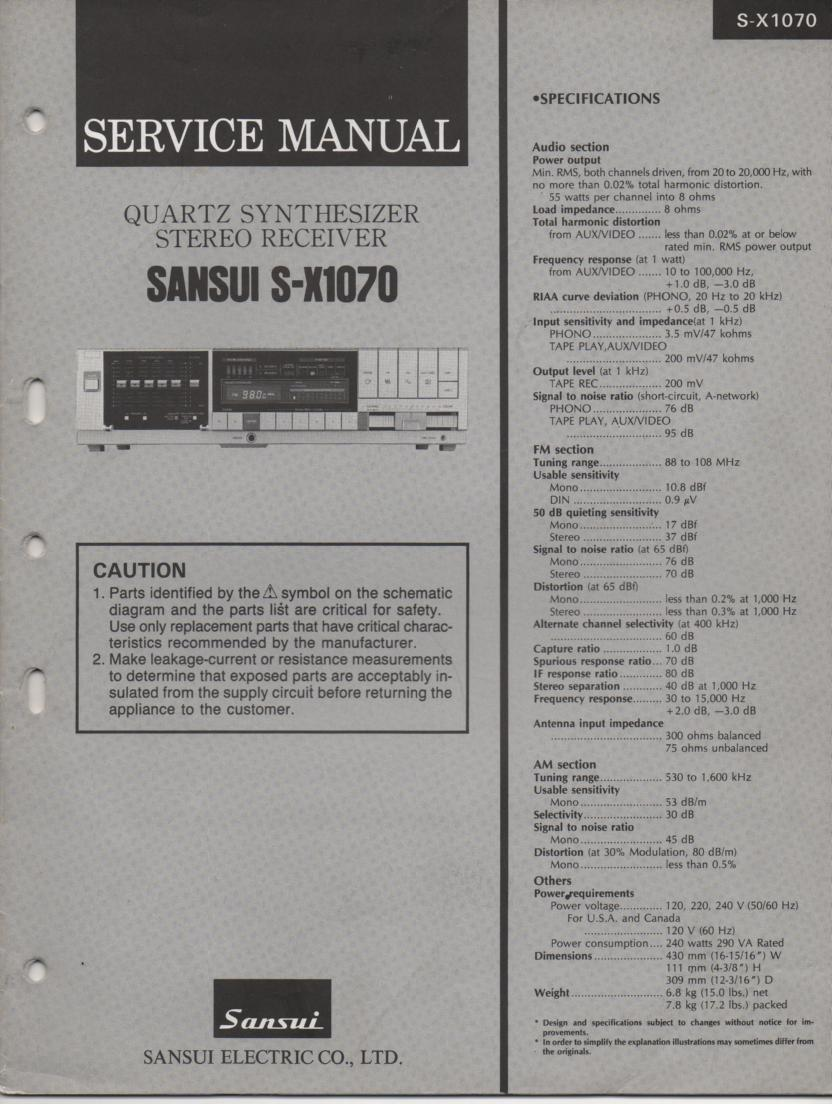 Sansui S-X1070 Receiver Service Manual