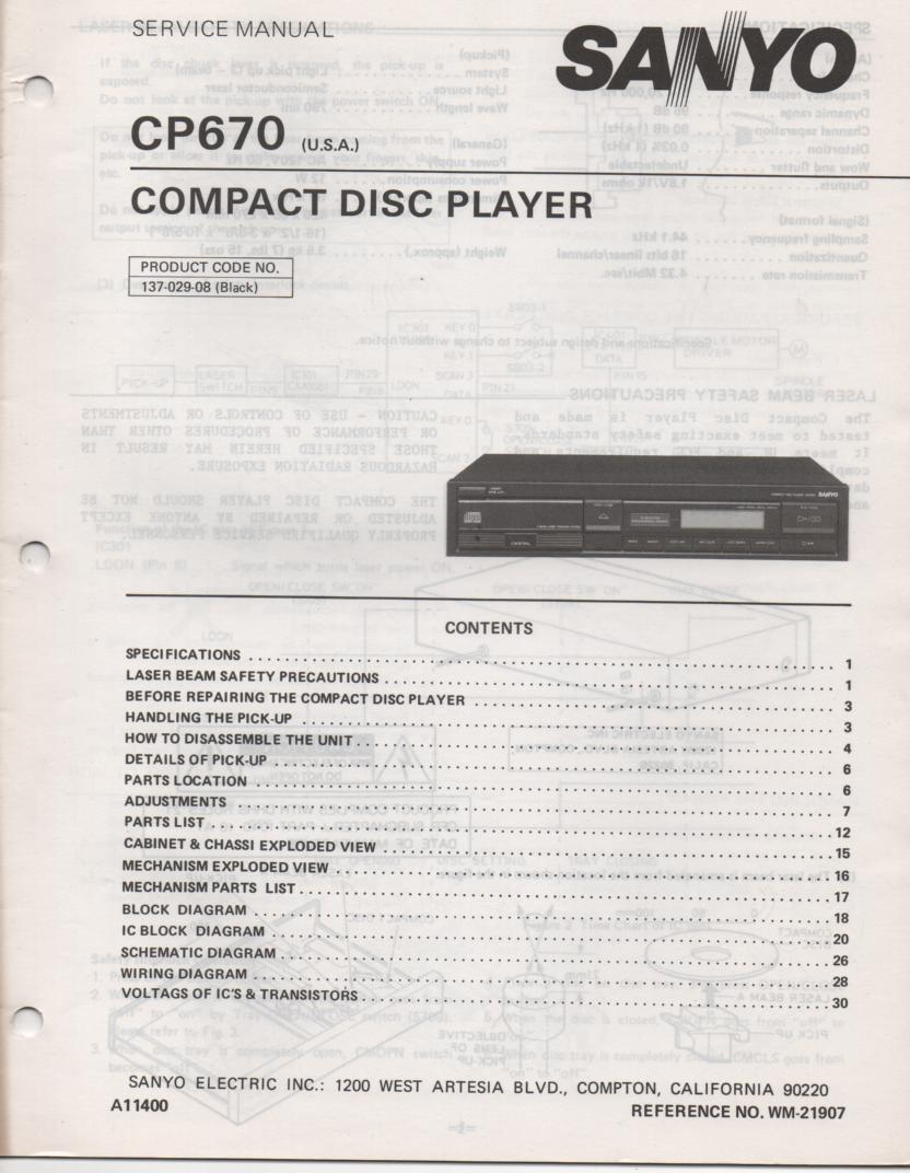 SANYO CP670 CD Player Service Manual