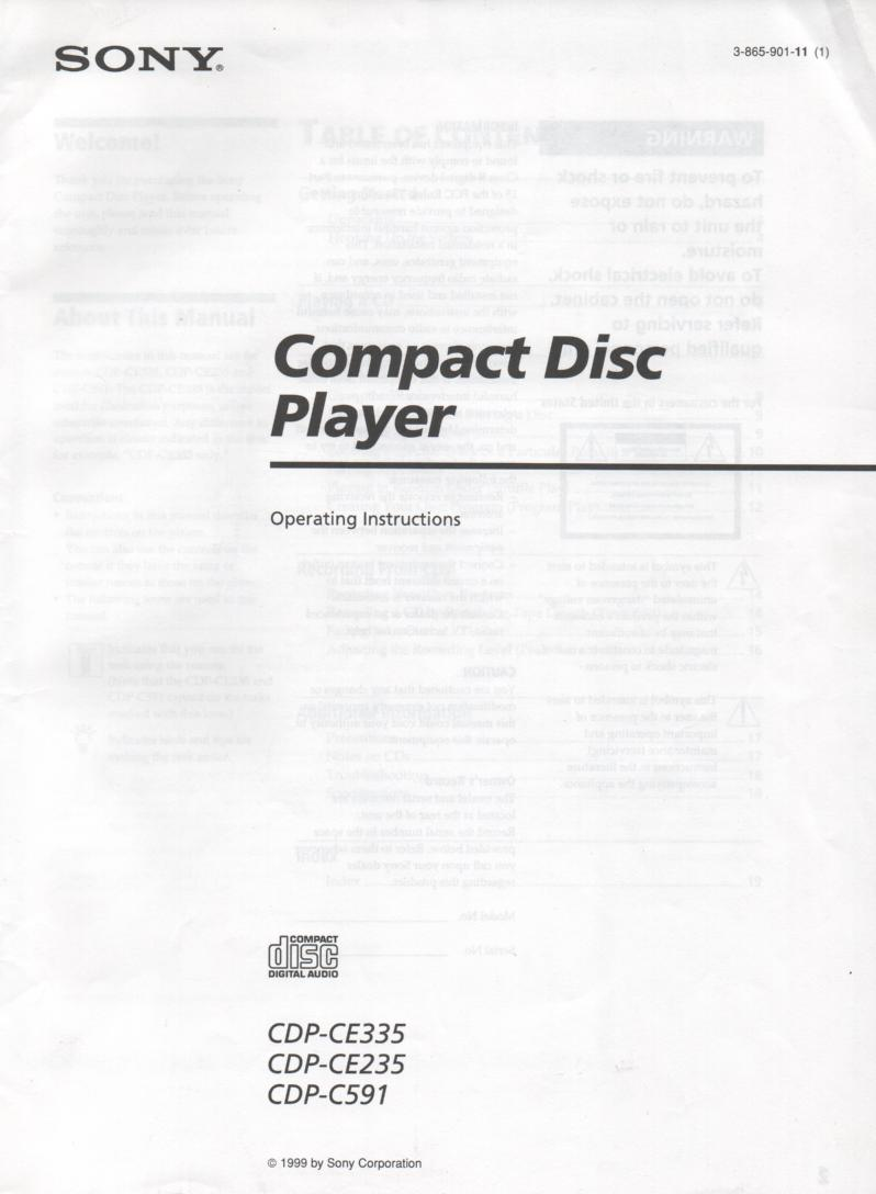 Sony CDP-C591 CDP-CE235 CDP-CE335 CD Player Owners