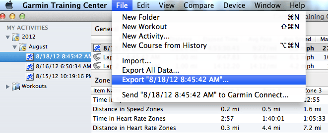 Exporting Garmin  fit files to Excel  csv files – Mike