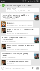 Hangouts has a clean chat like interface for messaging with multiple people.