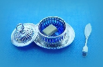 Miniature silver butter dish and knife
