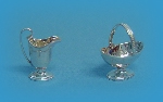 Miniature silver sugar basket & milk jug