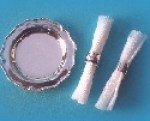 Miniature silver dinner plate & napkin rings