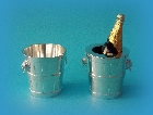 Miniature silver champagne cooler and liner