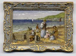 miniature painting 0221 Beach Scene with Mothers and Children