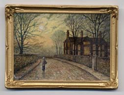 Miniature painting 0087 Large House and Lonely Lady, in the style of Atkinson Grimshaw