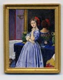 miniature painting 0095 Lady in Blue Dress