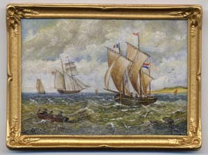 Miniature painting 0105 Seascape with Sailing Ships and Rowing Boats