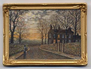 Miniature painting 0125 Moonlit Scene in the style of Atkinson Grimshaw
