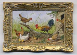 miniature painting 0130 Cockerel and Hens