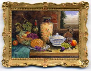 Miniature painting 0138 Still Life with Fruit and Tableware