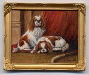 Miniature painting 0139 Pair of King Charles Spaniels