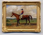 miniature painting 0142 Race Horse with a Jockey in a Red Coat