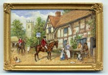 miniature painting 0153 Scene outside Village Inn with 2 Horse Riders