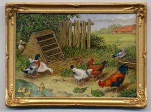 Miniature painting 0172 Large farmyard Cock, Hens and Ducks