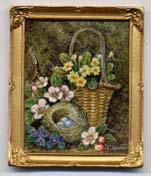 Miniature painting 0175 Primroses in a Basket with a Nest and Eggs