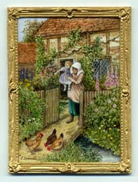 Miniature painting 0177 Cottage scene with a Mother, Child and Chickens