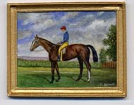 Miniature painting 0179 Racehorse with a Jockey in a Blue Coat