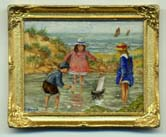 miniature painting 0192 Beach Scene with 3 Children and a Toy Boat