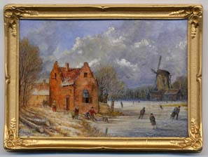 miniature painting 0199 Dutch Winter Scene with Skaters